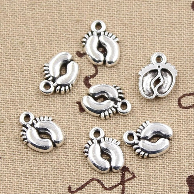10pcs 13x10mm, Antique Baby feet Charm/ pendant