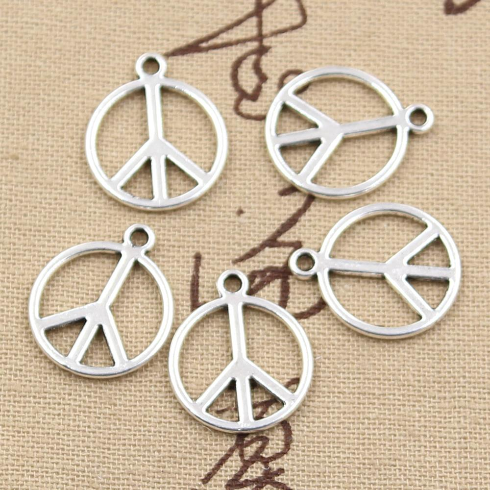 10pcs 21x17mm, Antique peace sign symbol Charm/ Pendants