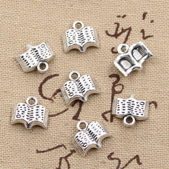 10pcs 11mm, Antique open book Charm/ pendant