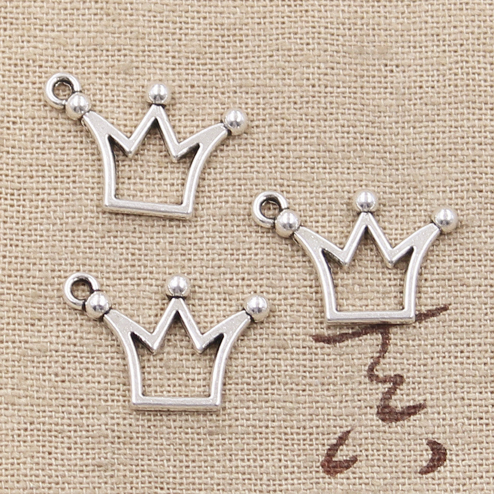 10pc 20X13mm, Antique Crown Charm/ Pendant