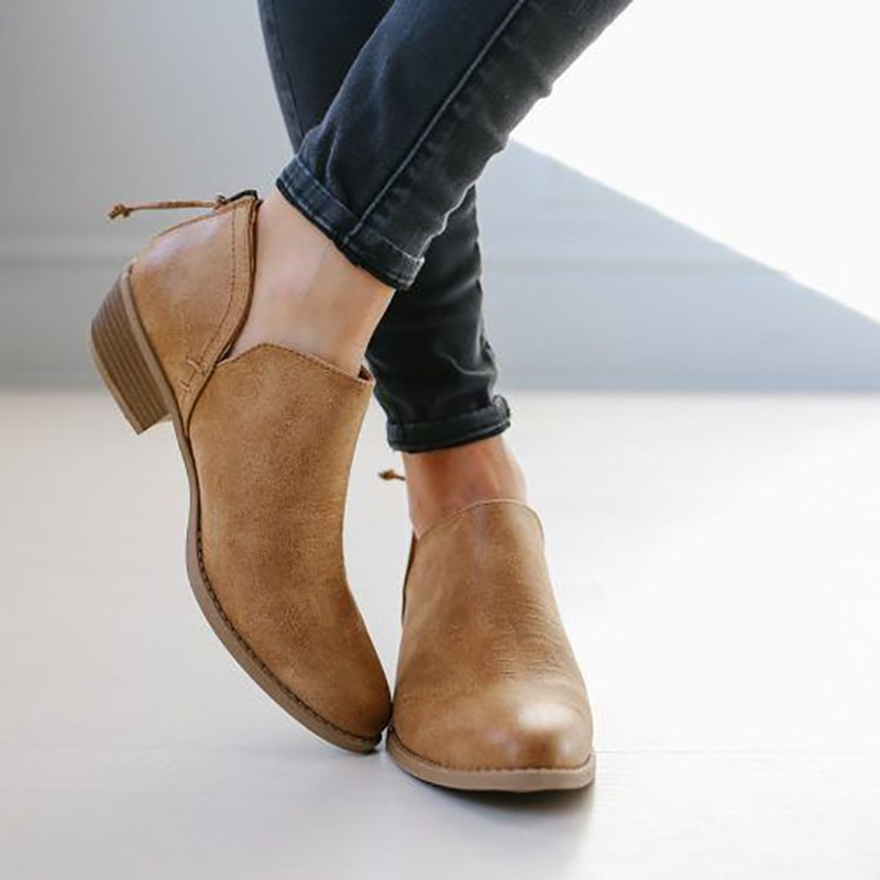 77cf65fac ... Plus Size Chunky Heel Short Boots Female Non-slip Cute Booties ...
