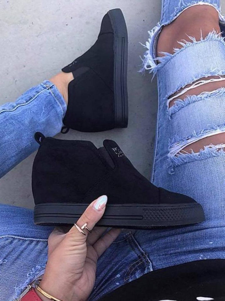 Wedge Sneakers Casual Heel Suede Fashion Letter Slip On Faux CxdBoer