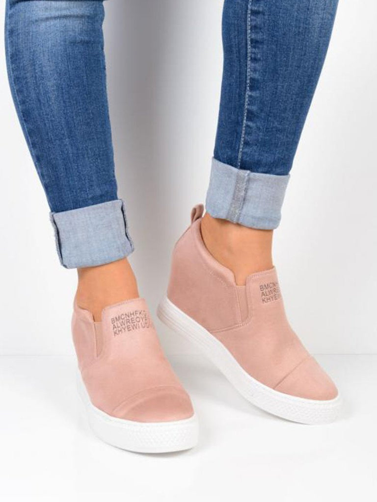 6e923a866d72bd Fashion Letter Slip On Wedge Sneakers Faux Suede Wedge Heel Casual Sneakers  ...
