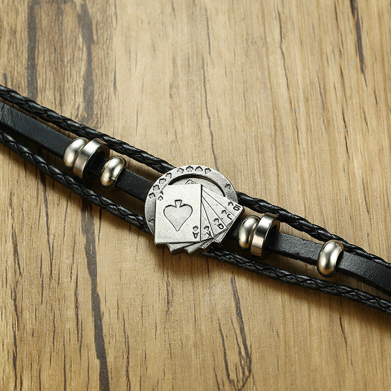 JC Leather Poker Face Bracelet