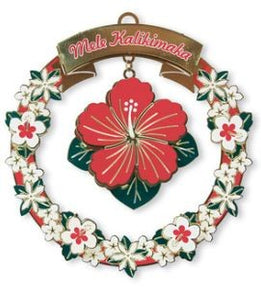 Metal Die-cut Mele Hibiscus Ornament - The Hawaii Store