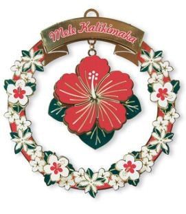 Metal Die-cut Mele Hibiscus Ornament