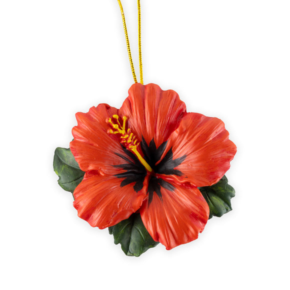 Hand Painted Red Hibiscus Ornament - The Hawaii Store
