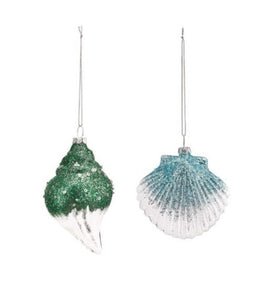 Glass Shell Green & Blue Ornament - The Hawaii Store