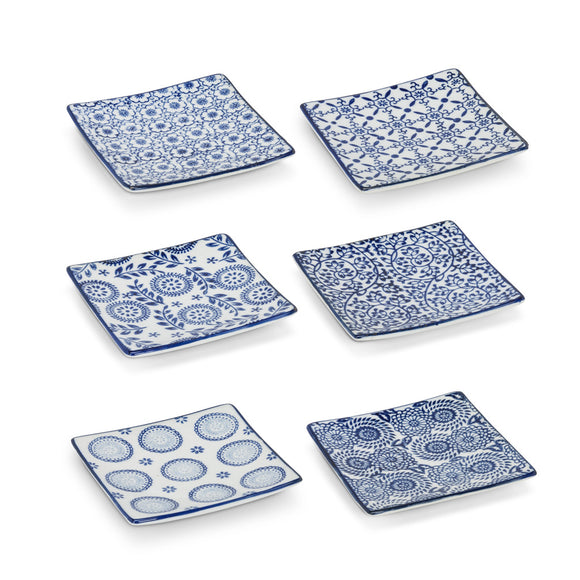 Plate Sm Sq Blue/White 4'' - The Hawaii Store