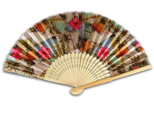 Postcards/Pineapple Bamboo Fan - The Hawaii Store