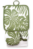 Olive Hibiscus Floral Kitchen Set - The Hawaii Store