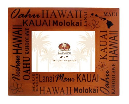Hawaiian Island Wood Picture Frame 4x6 - The Hawaii Store