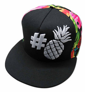 Black Hashtag Pineapple Adjustable Hat - The Hawaii Store