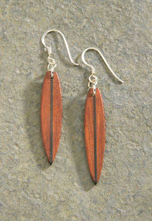 Wood Surfboard Earrings