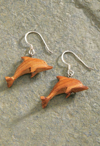 Wood Dolphin Earrings - The Hawaii Store