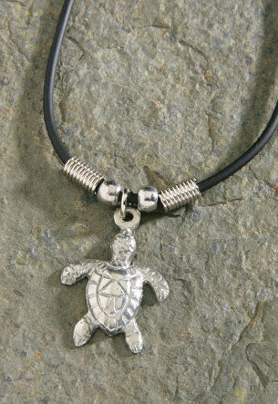 Necklace Rubber Cord Pewter Petite Turtle - The Hawaii Store