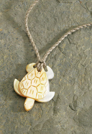 Twisted Cord Mother of Pearl Turtle Necklace