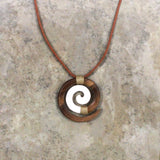 Necklace Wood Bone Koru Brown - Polynesian Cultural Center