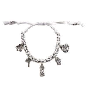 BR 5 Charm Adjustable Bracelet White - The Hawaii Store