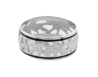 Sterling Silver Flowers of Hawaii Ring 8mm - The Hawaii Store