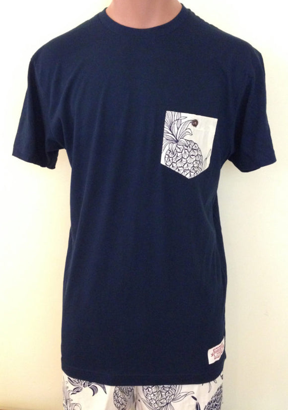 Bamboo Boxer Blue Pineapple Pocket T-shirt Navy - The Hawaii Store