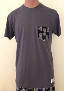 Bamboo Boxer Pineapple Pocket T-shirt Gray - The Hawaii Store