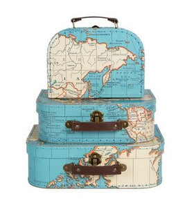 Vintage Map Suitcase - Set of 3 - The Hawaii Store
