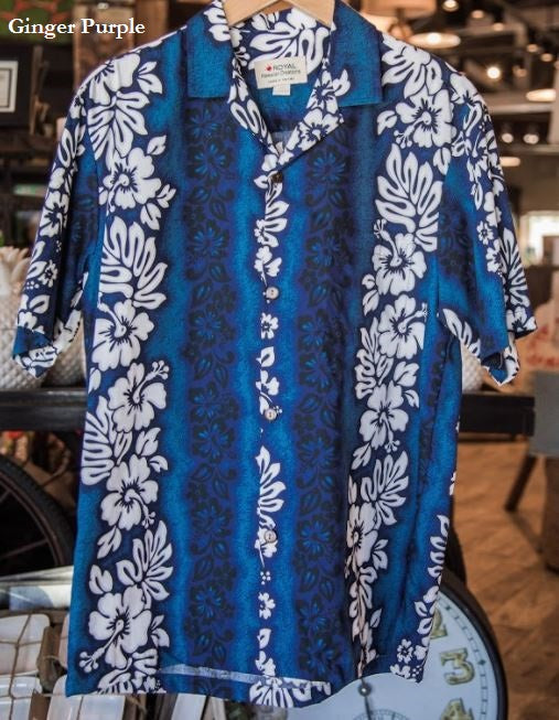 Hawaiian Aloha Shirt in Ginger Blue or Ginger Purple 2XL - Polynesian Cultural Center