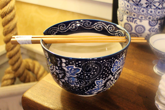 Bowl Chopsticks Blue/White Floral - The Hawaii Store