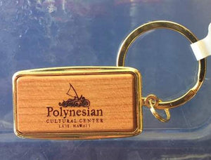 PCC Gold & Cherry Wood Keychain - Polynesian Cultural Center