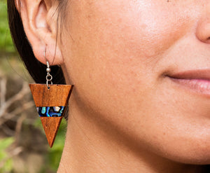 Koa Triangle Paua Earrings - Polynesian Cultural Center
