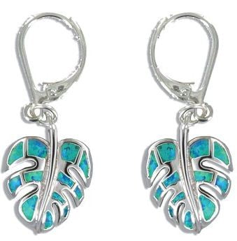 Sterling Silver Hawaiian Monstera Leaf Blue Opal Lever Earrings