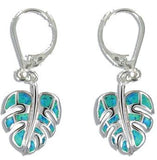 Sterling Silver Hawaiian Monstera Leaf Blue Opal Lever Earrings - The Hawaii Store