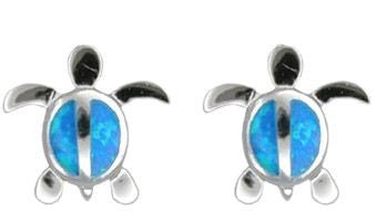 Sterling Silver Blue Opal Hawaiian Honu Pierced Earrings