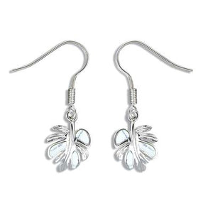 Sterling Silver White Turquoise Monstera Leaf Earrings - The Hawaii Store