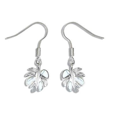 Sterling Silver White Turquoise Monstera Leaf Earrings - Polynesian Cultural Center