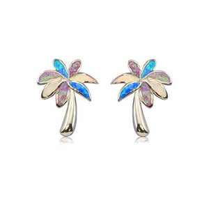 Sterling silver Rainbow Opal Palm Tree Earrings - Polynesian Cultural Center