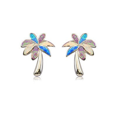 Sterling silver Rainbow Opal Palm Tree Earrings