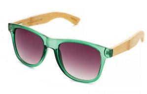 Blue Planet Bamboo Sunglasses Green & Smoke - The Hawaii Store