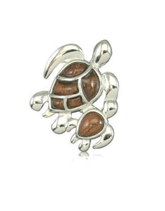 Sterling Silver Hawaiian Koa Wood Fancy Mother & Baby HONU Pendant - The Hawaii Store