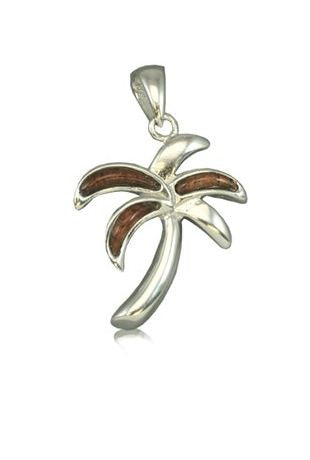 Sterling Silver Koa Wood Palm Tree Pendant - The Hawaii Store