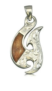 Sterling Silver Hawaiian Koa Wood Fancy Fish Hook Pendant - The Hawaii Store