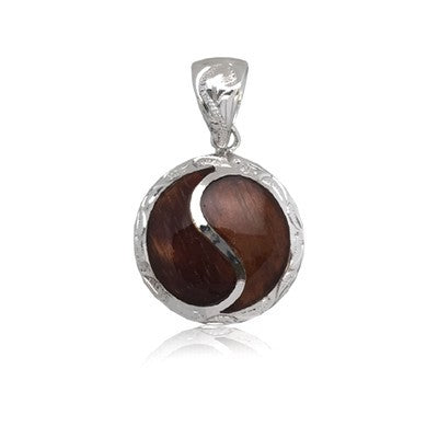 Sterling Silver Hawaiian  Koa Wood Circle Pendant