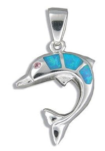 Sterling Silver Hawaiian Blue Opal Jumping Dolphin Pendant