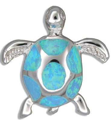 Sterling Silver Hawaiian Blue Opal 3D HONU Pendant - The Hawaii Store
