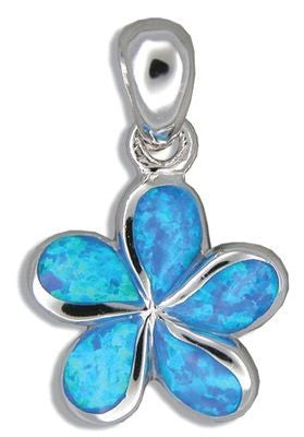 Sterling Silver Hawaiian Plumeria Blue Opal Pendant - The Hawaii Store