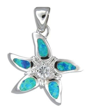 Sterling Silver Hawaiian Starfish Blue Opal Pendant with CZ - The Hawaii Store