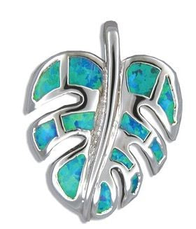 Sterling Silver Hawaiian Monstera Leaf Blue Opal Pendant