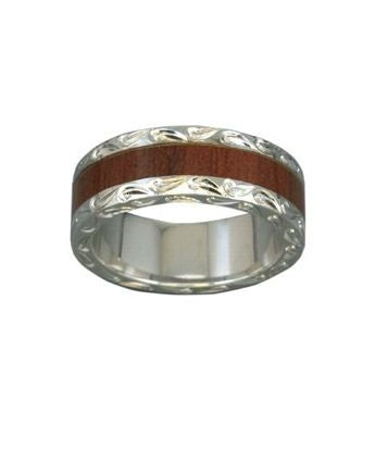 Sterling Silver Hawaiian Koa Wood Men's Eternity 7mm Ring - Polynesian Cultural Center