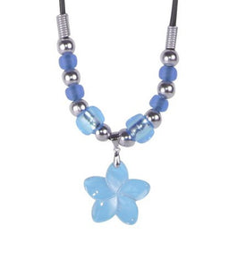 Del Sol Blue Flower Shell Necklace - The Hawaii Store